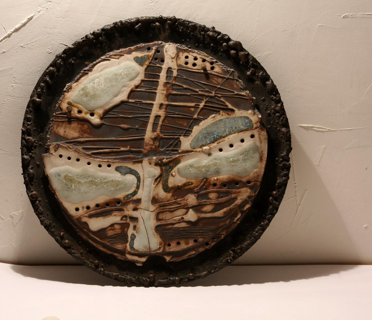 """Lunar topography. Object № 3"", d – 40сm, porcelain, oxide, metal, 2012"