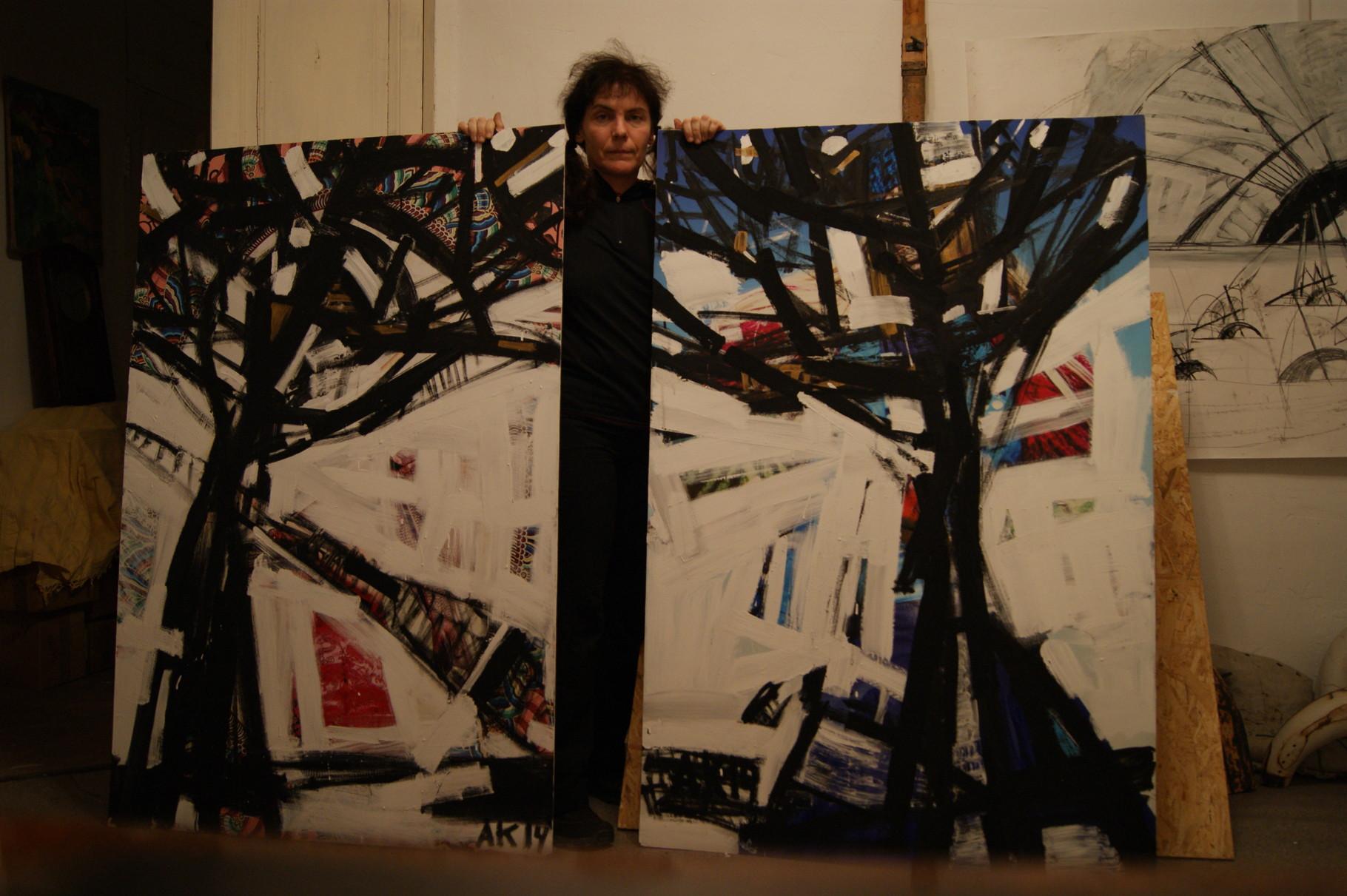 """""""Trees"""", 150x100, cardboard, mixed media, 2015"""