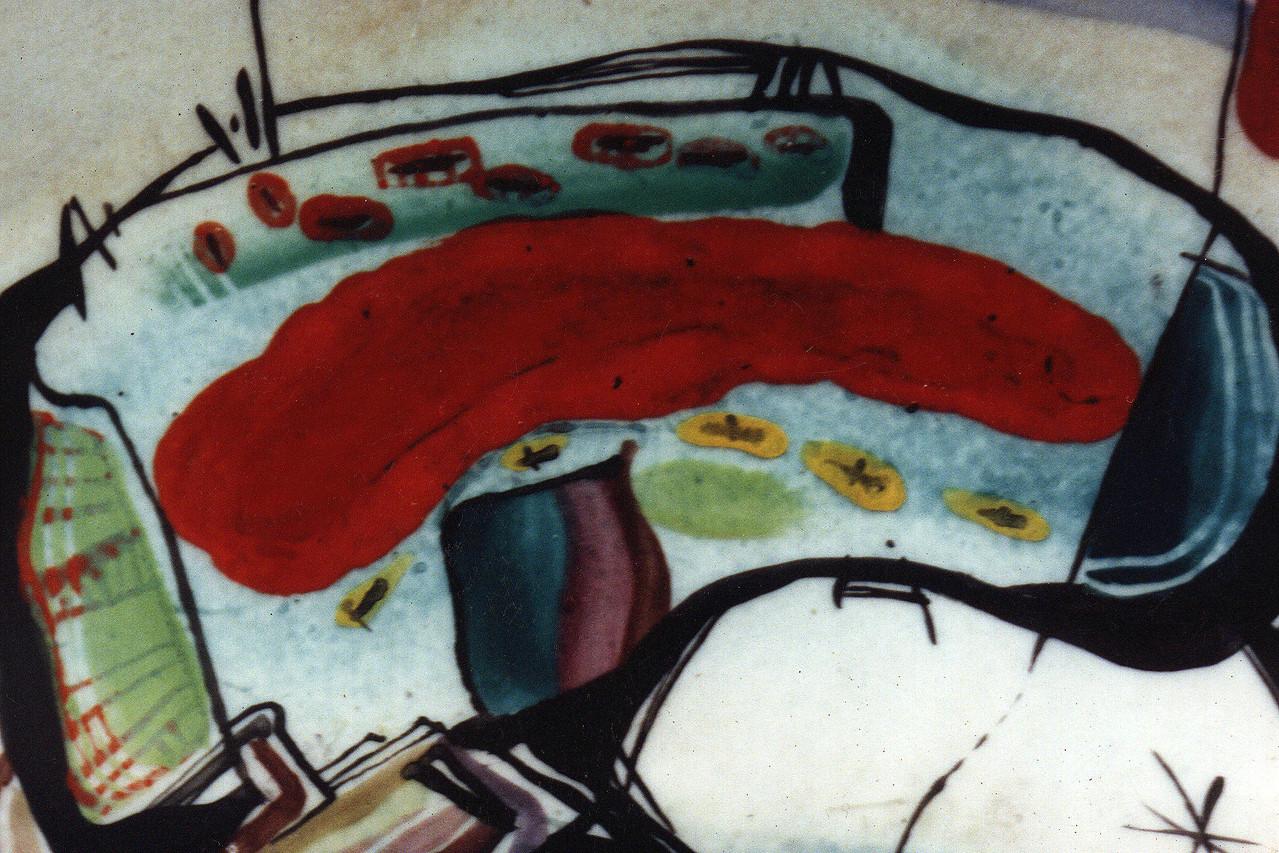 """Fragment """"Dreams """", D-30cm, porcelain, overglaze painting, 2014"""