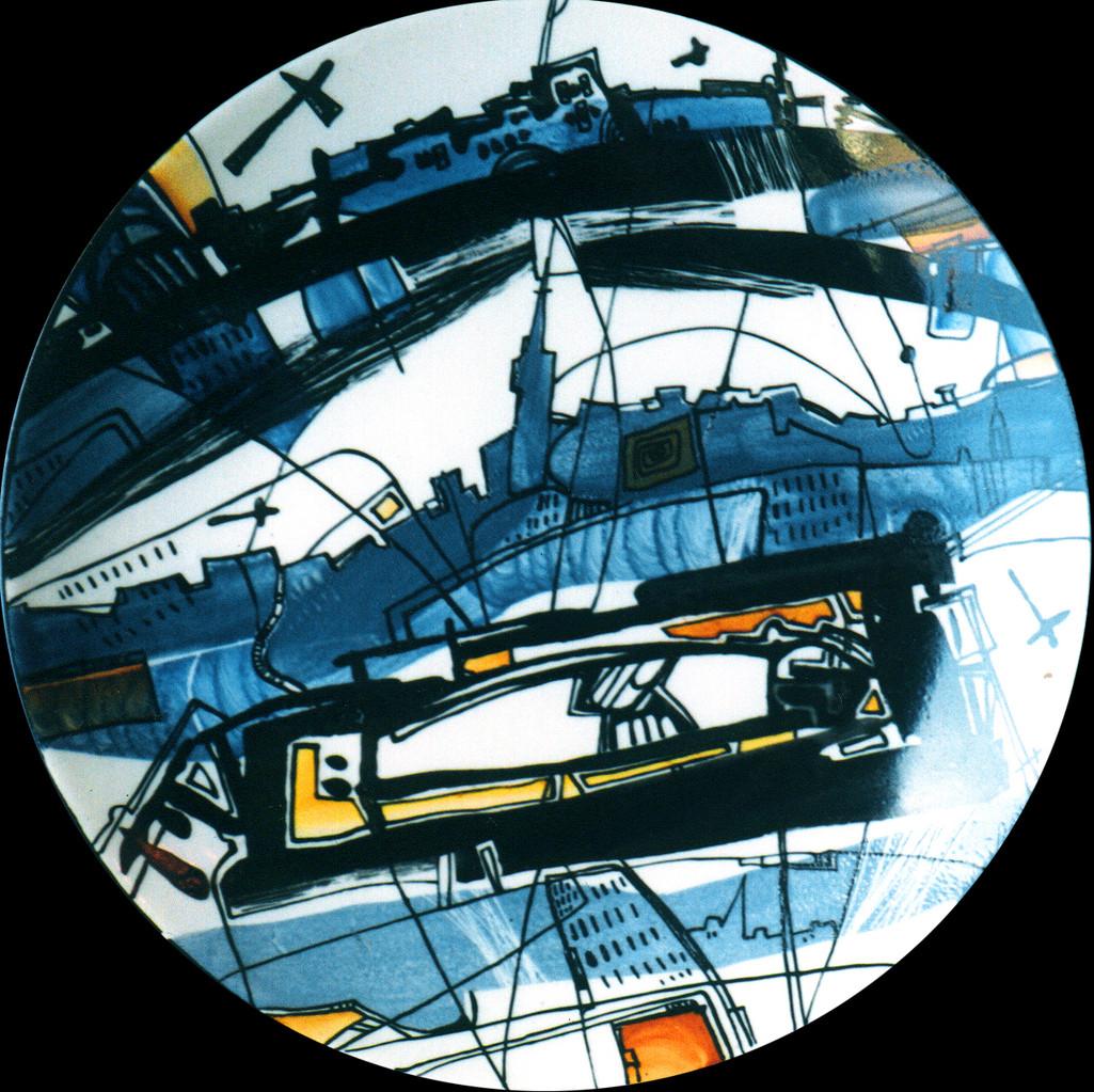 """""""Town №2"""", D-25cm,  porcelain,  overglaze painting,2013"""