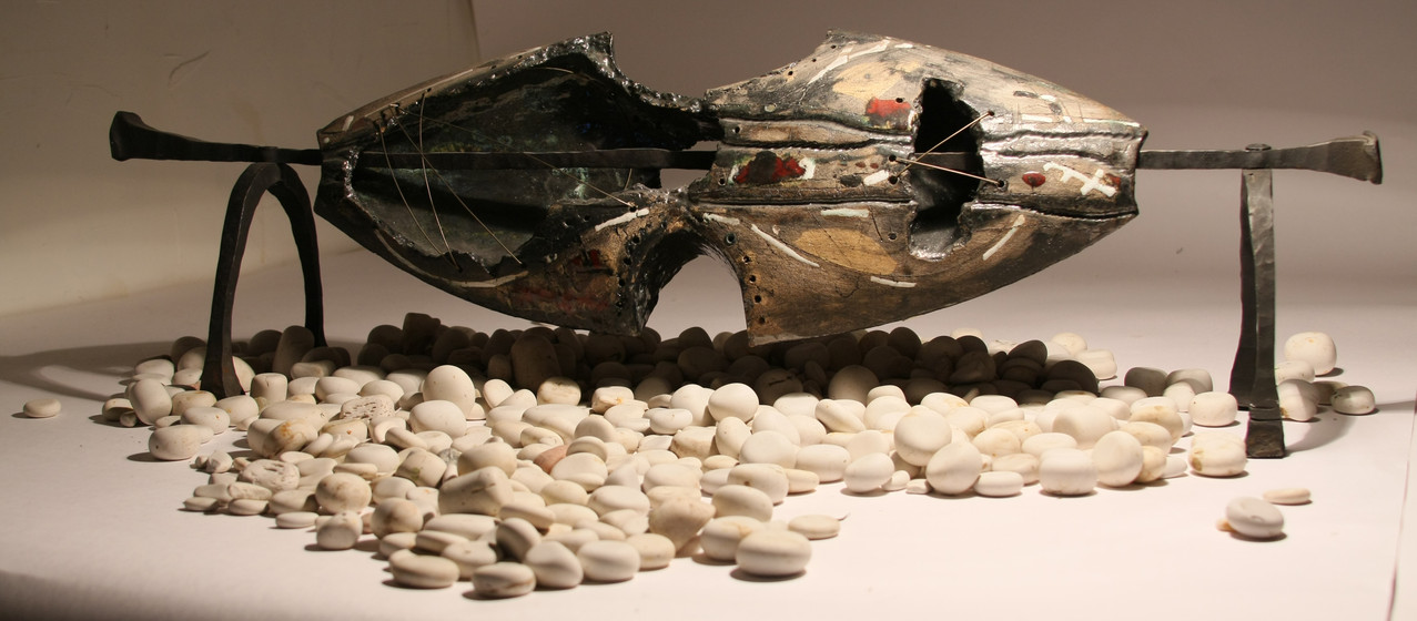 """Forms of Life.Old Fish"", H - 45 cm, ceramics, forging, 2011"