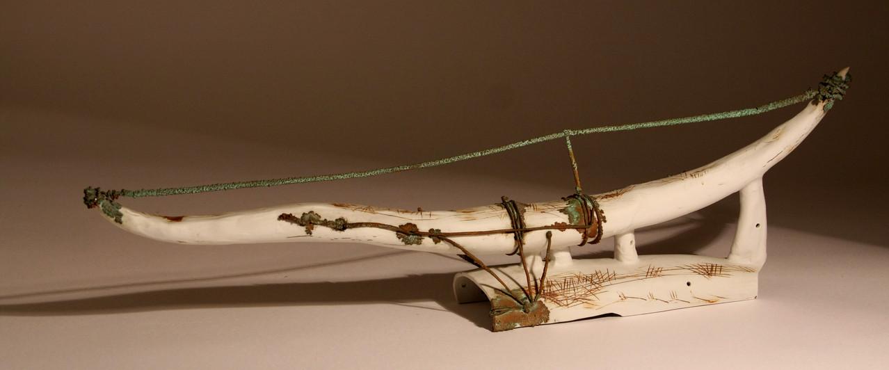 """White horn. Base"",57x20см, porcelain, galvanoplastics, 2011"