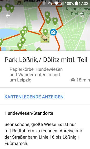 Details nach Klick auf einen Marker- incl. Navigationsfunktion