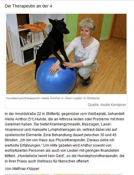 Hundephysiotherapie Heike Amthor in Stötteritz in der LVZ