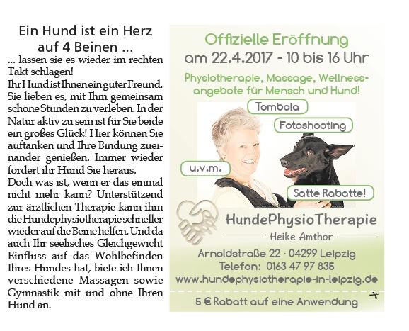 Hundephysiotherapie Heike Amthor  Im Leipziger Amtsblatt am 8.4.2017