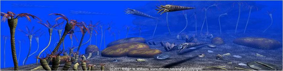 Koraller, krinoider, cephalopoder og trilobitter i silurperioden, for 430 millioner år siden.