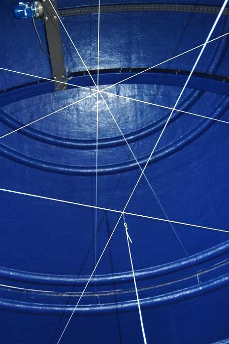 Kuppelens og ringmurens krumningssentrum lokaliseres ved å strekke hyssing over to eller flere diametere.