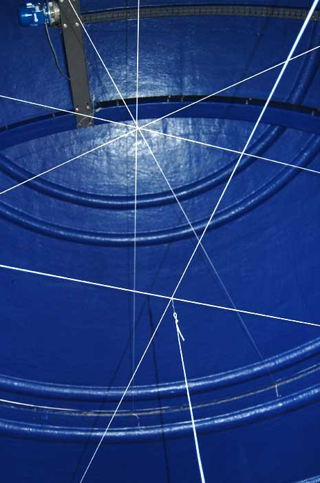 The intersection of strings stretched across several diameters locates the dome's center of curvature. The two lower diameters mark the center of the observatory crown.