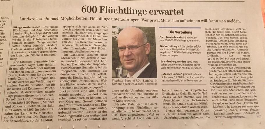"""Stephan Loge, Landrat LDS, bittet Einwohner am 27.01.2015 in der Zeitung """"Märkische Allgemeine - Dahme-Kurier"""" um Unterstützung bei der Unterbringung von Flüchtlingen."""