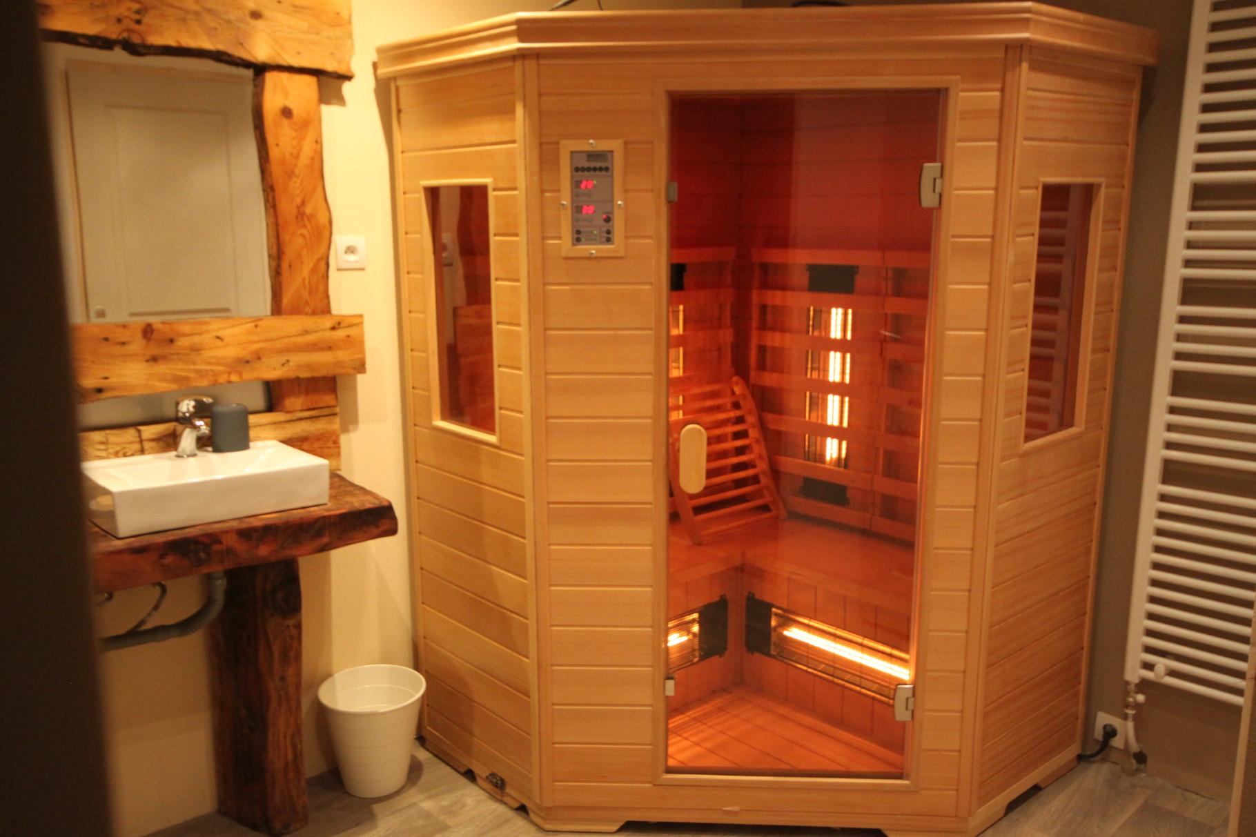 Sauna 3 places avec ozonateur, ionisateur, luminotherapie, clé USB, FM