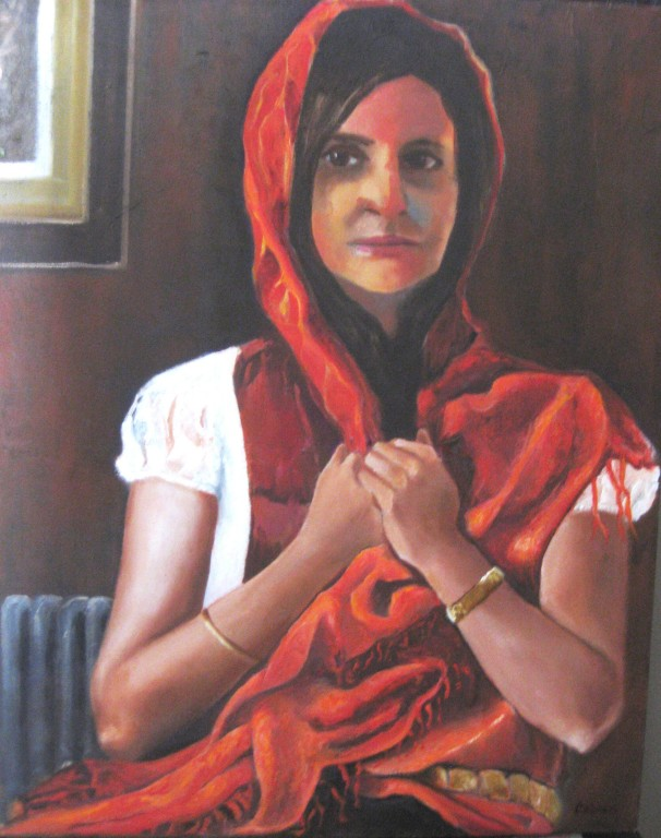 """Gypsy in Orange Shawl""   15""x19""  Oil on canvas"