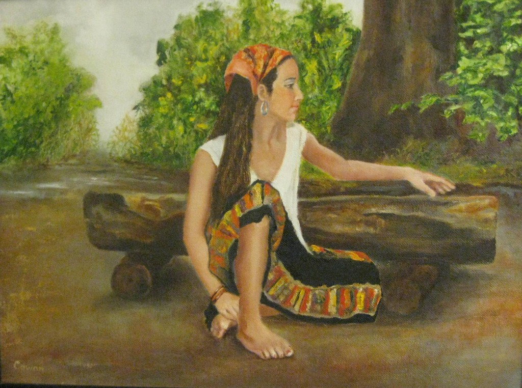 """Gypsy in Wooded Glade""   12""x16""    Oil on canvas    SOLD"
