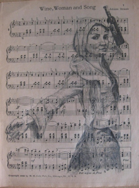 """""""Wine, Woman and Song""""  8.5""""x11"""" Charcoal"""