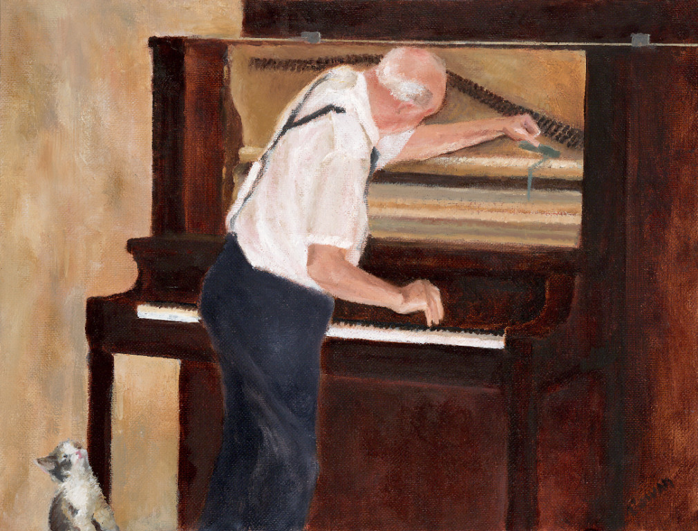 """The Piano Tuner""   11""x14""    Oil on canvas      SOLD"