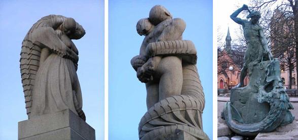 <左>ノルウェーの「人に取り憑く半魚人」像 <右>スウェーデンの怪物「ヨルムンガンド」