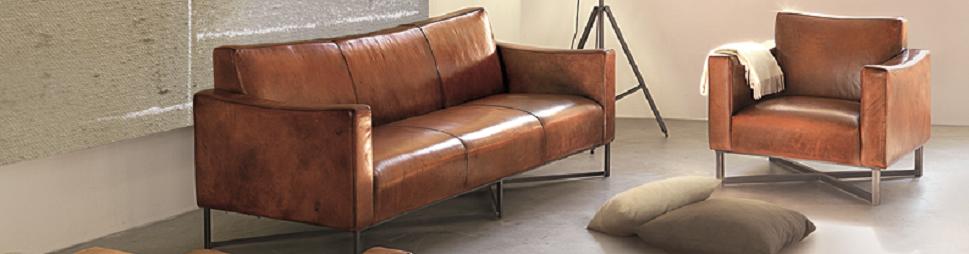 AMES Vintagesofa in Buffalo-Leder mit Einführungsrabatt