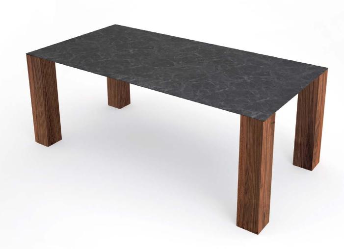 Tisch mit Platte Betonoptik, Nussbaumfüsse
