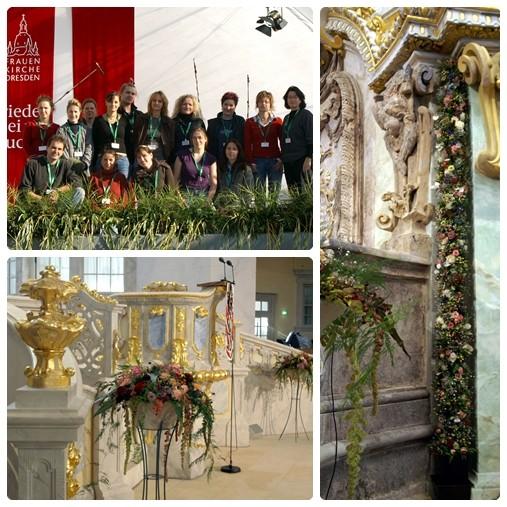 Floralegestaltung zur Weihe der Frauenkirche Dresden 2005