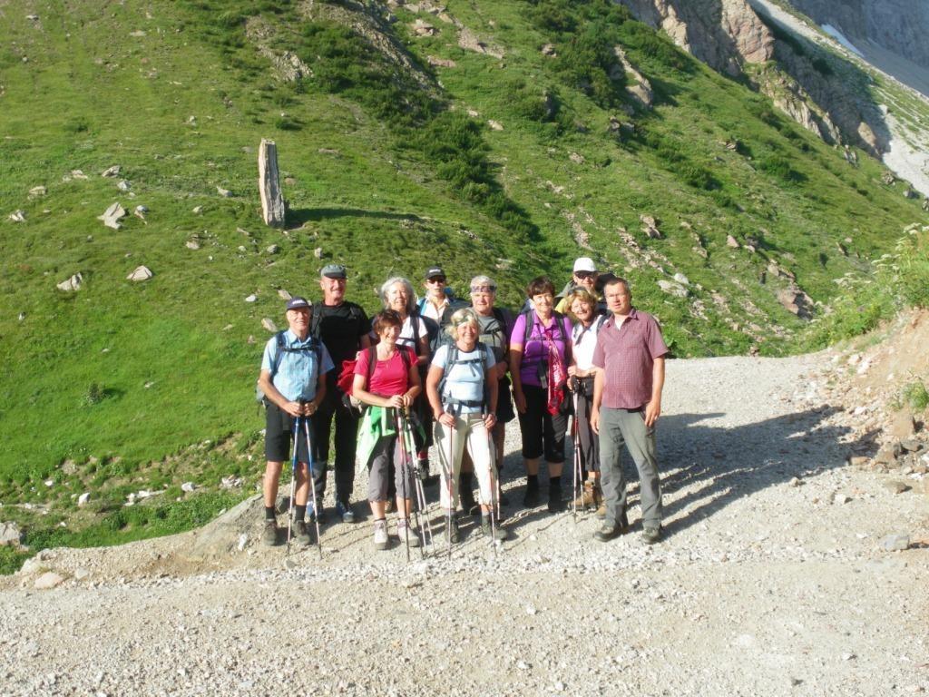 Gruppenfoto bei der Wolayersee Hütte 1.959 m