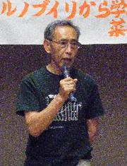【写真】環境学習講演会で新たなエネルギー社会構築の必要性を訴える河田さん
