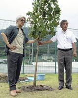 植樹する坂本さん(左)と多田・住田町長