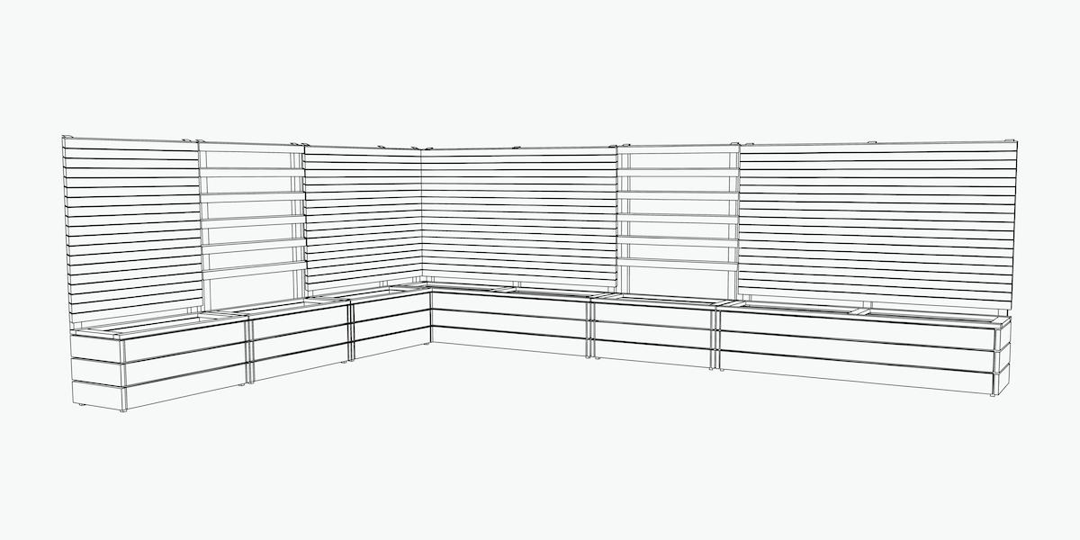 Sichtschutz / Rankgitter Eck - Kombination