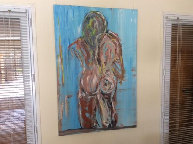 Dit schilderij is het begin geweest van Les dos Nudes - een donkeren vrouw op de rug te zien - 225 euro