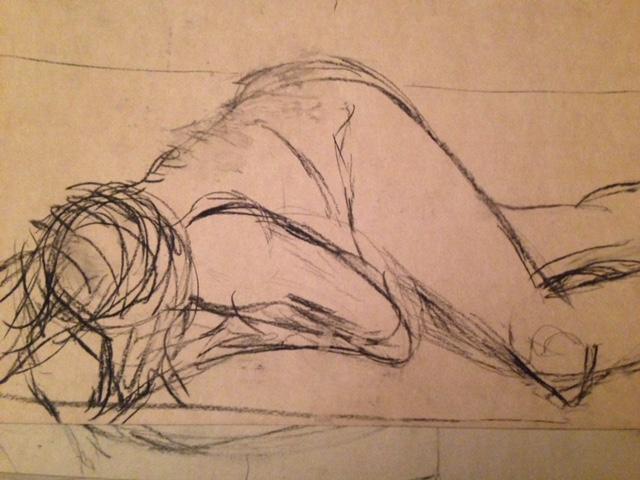 Een van mijn eerste schetsen, geen kleur alleen houtskool