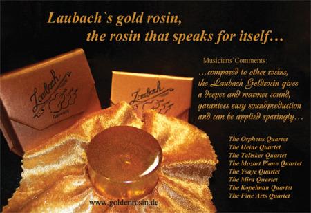 Laubach gold rosin for violinor viola or cello