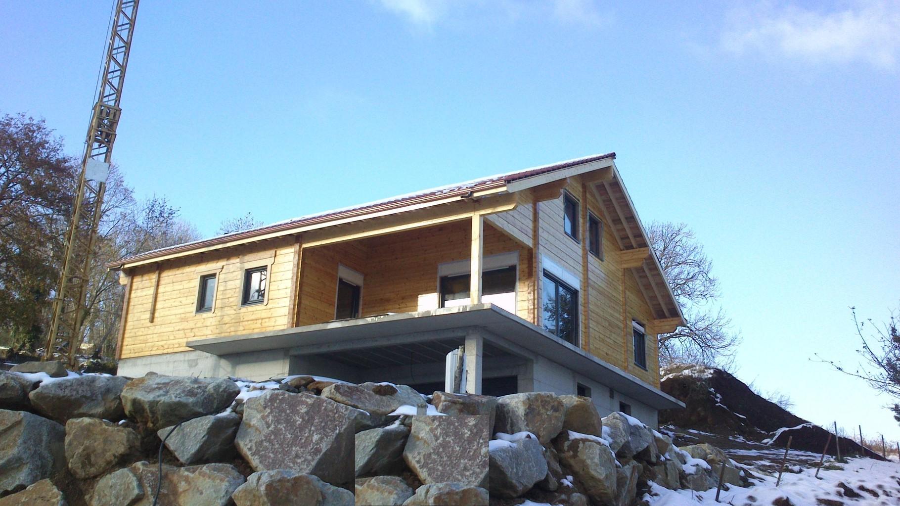 Maison madrier 164x260  construit en autoconstruction à ORCINES (63)