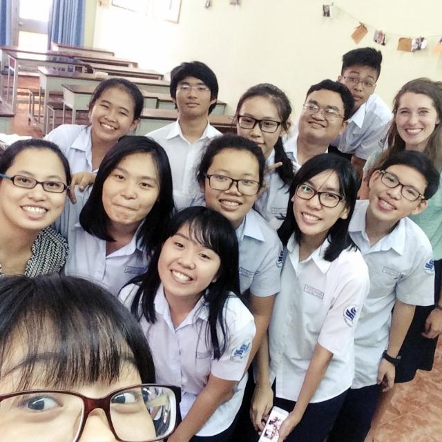 Ein letztes Selfie mit der 11. Klasse der Nhang Kieu Schule.