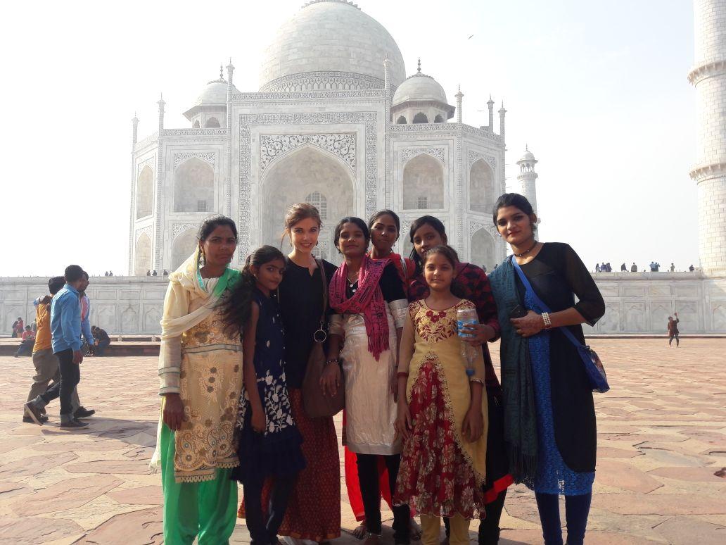 Beliebtes Fotomotiv am Taj Mahal