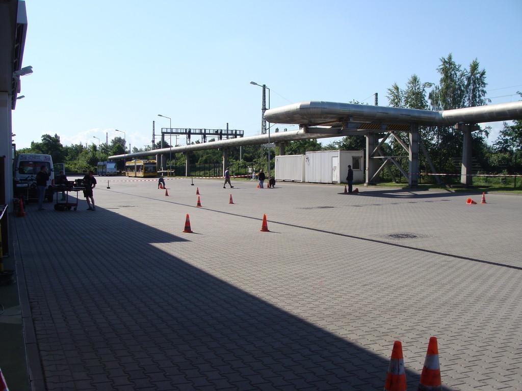 Die Strecke auf dem Busgelände.