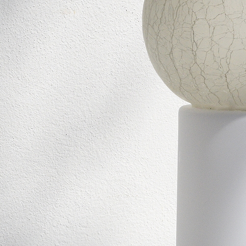 yellow table lamp with rock salt crystals