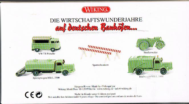 VW T1 Pritsche, Straßenwalze, Srengwagen und Müllwagen MB L3500