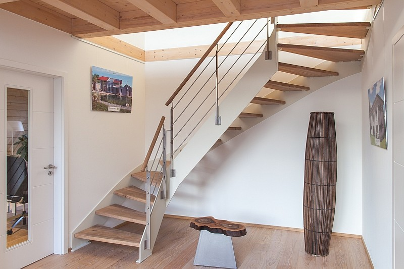Staircase in a luxurious eco home
