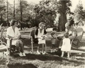 The Marshalls on the lawn of Dodona with Mrs. Marshall's daughter, Molly Winn, and Molly's children, 1944. (Photo: George C. Marshall Foundation)