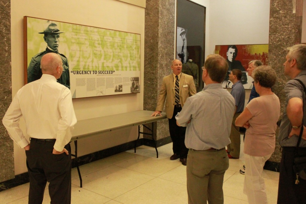 Paul Baron, Director of Library and Archives, guides a tour through the Marshall Museum in Lexington.