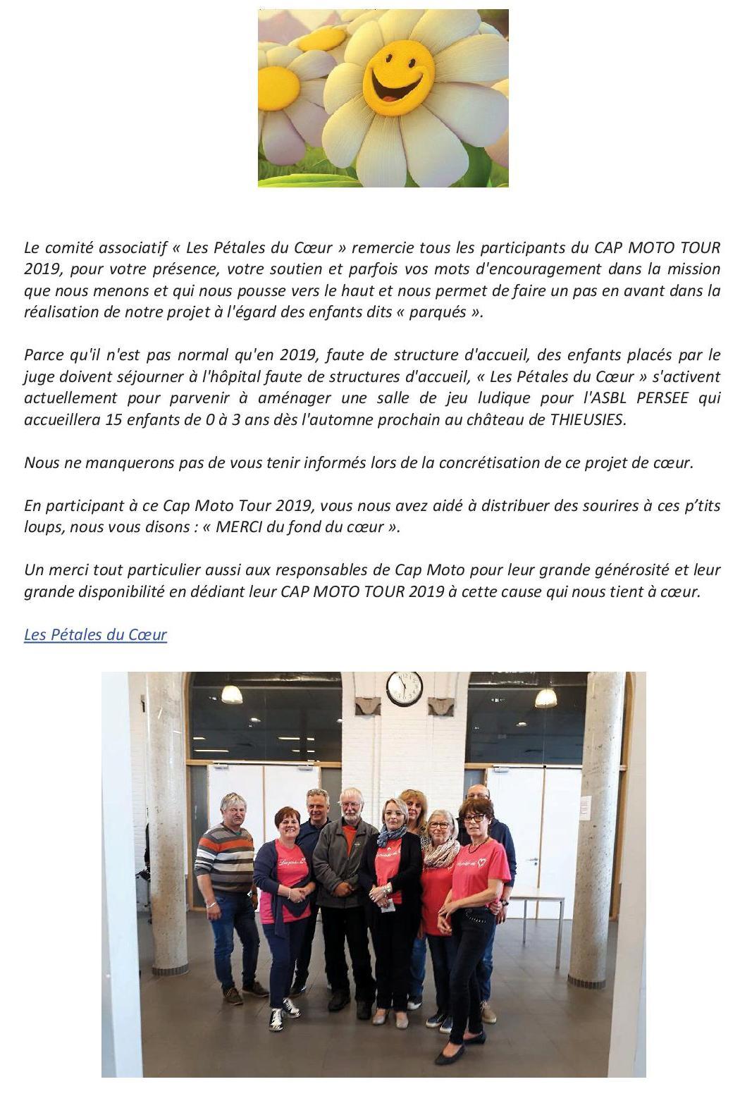 Le Cap Moto Tour 2019 by Cap Moto (remerciements les Pétales du Coeur)