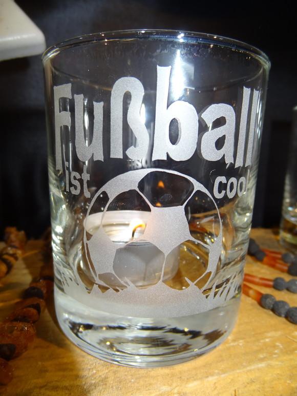 Glas Sandgestrahlt Motiv Fussball