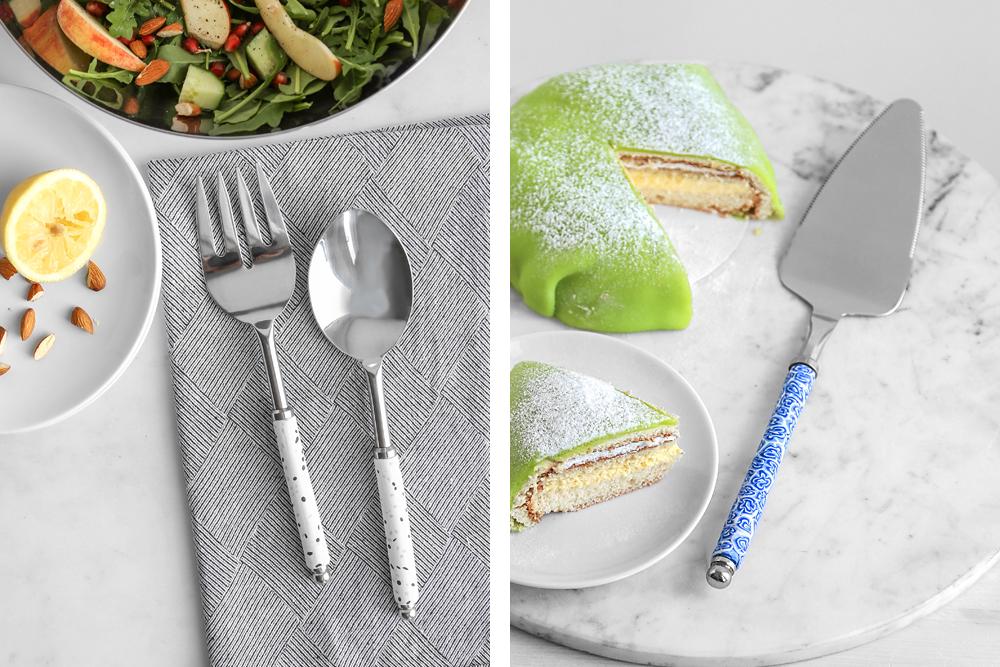 Salatbesteck und Kuchenschaufel mit Fimo verziert Beispiel Rayher