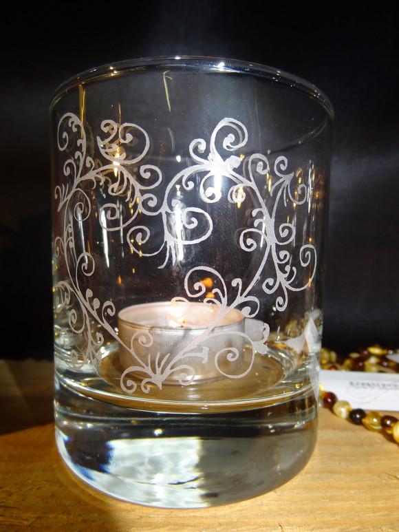 Glas Sandgestrahlt Motiv Filigranes Herz