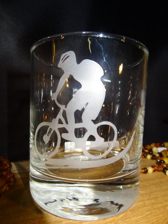 Glas Sandgestrahlt Motiv Biker