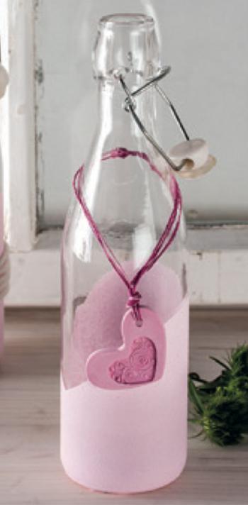Glasflasche mit Raysin Beispiel Rayher