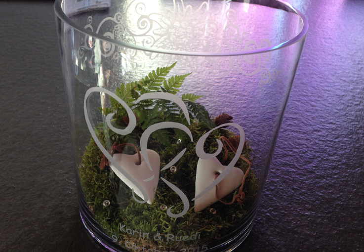 Glas Sandgestrahlt Motiv Herzen