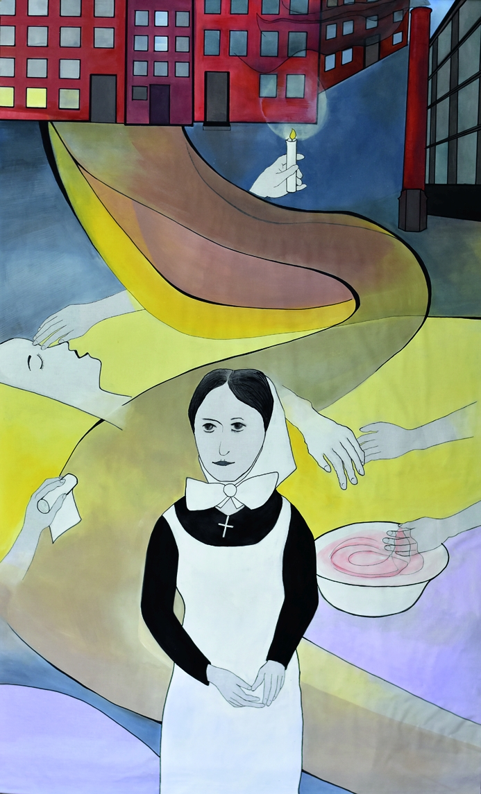 »ABGEROLLT UND AUFGEROLLT – DIE DIAKONISSIN MARIE VON LIEBE «, Baumwolle, Acrylmalerei, Zeichenkarton mit Text, 2020