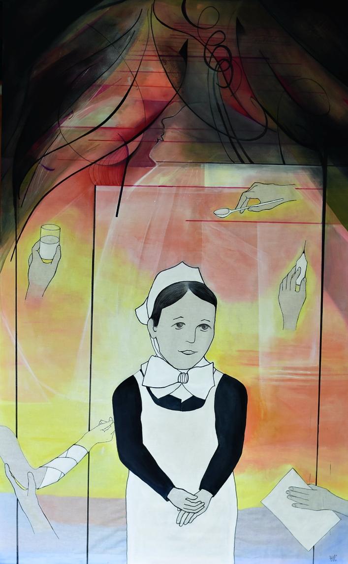 »ABGEROLLT UND AUFGEROLLT – DIE DIAKONISSIN MARIE RUNKEL«, Baumwolle, Acrylmalerei, Zeichenkarton mit Text, 2020