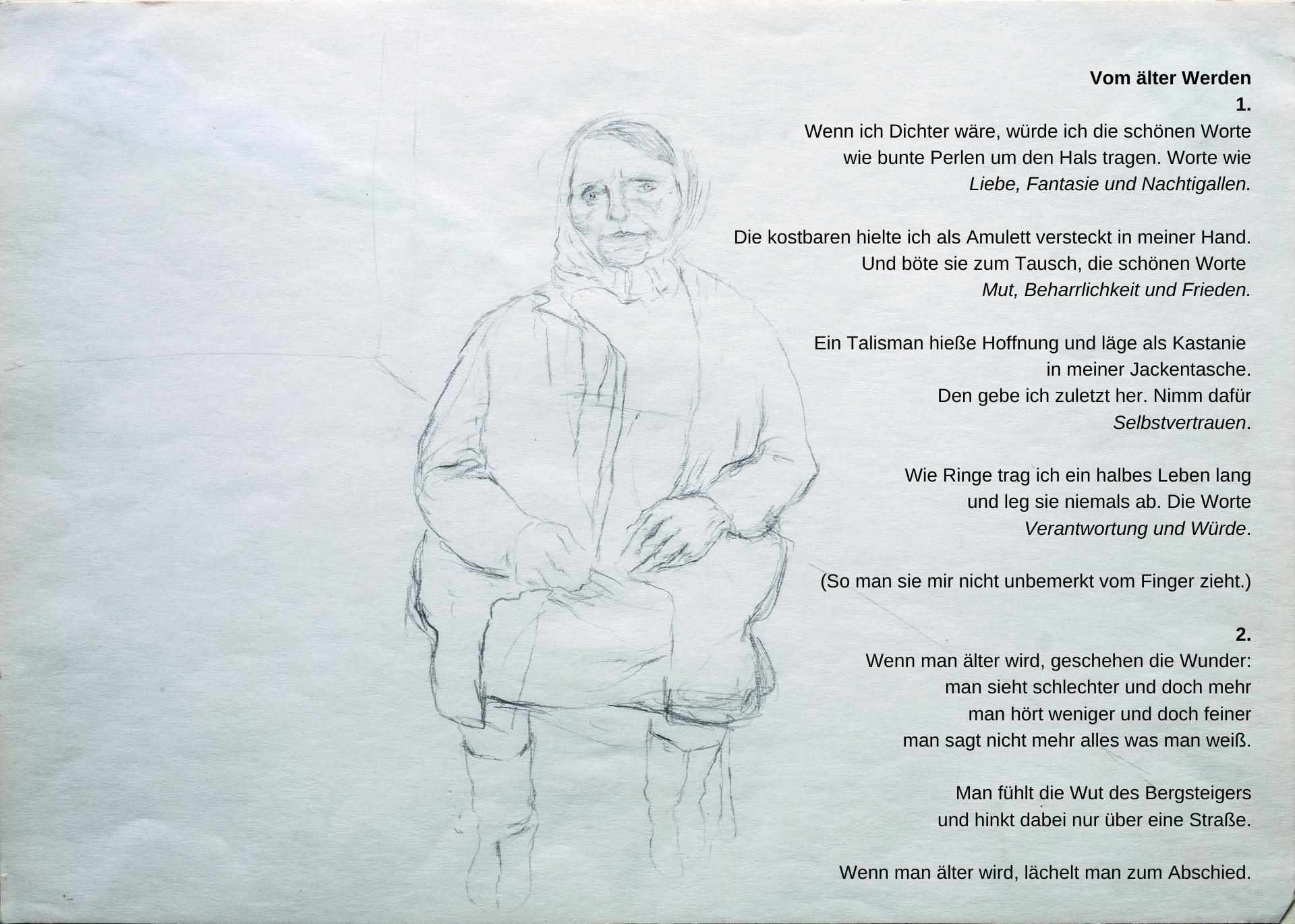 »VOM ÄLTER WERDEN«, Bleistift auf Papier, 1981; Gedicht, 1981/2020