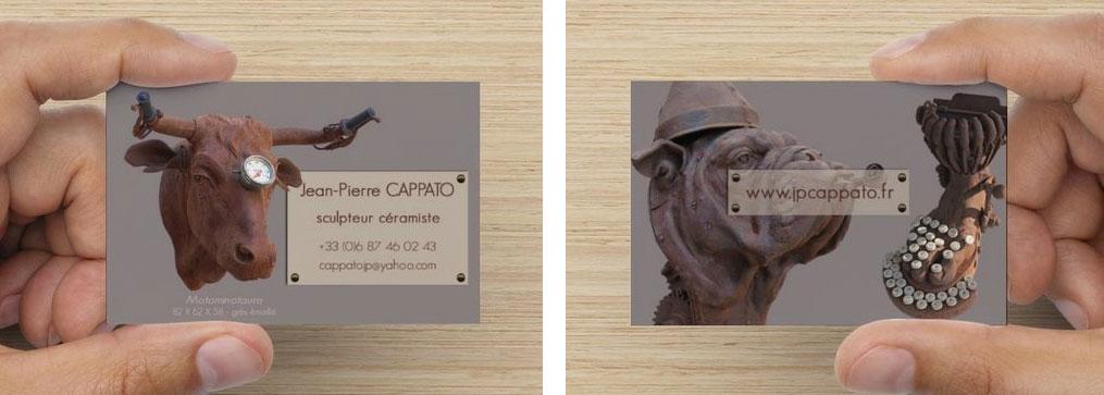 Carte de visite recto/verso et Site web Artiste sculpteur céramiste Jean-Pierre Cappato