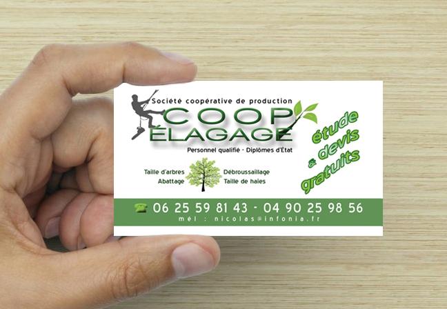 """Logotype et carte de visite """"Coop Élagage"""""""